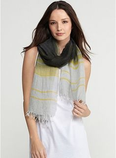 Eileen Fisher Scarf in Crinkle Stripe Graphite Linen Ombre