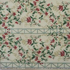 """Fabric Sample, Kerry Fushia, Glazed Chintz Red on White A sample of a Brunschwig & Fils Inc. fabric design, no. This is a screen print design. The pattern is """"Kerry Fuchsia"""" and the fabric is dated The fabric is glazed cotton chintz."""