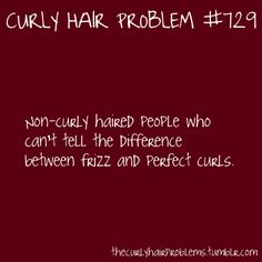Curly Hair Problem: Non-curly haired people who can't tell the difference between frizz and perfect curls. So many times people tell me this when I say my hair is frizzy! Curly Hair Tips, Curly Hair Styles, Natural Hair Styles, Frizzy Hair, Curly Girl Problems, Hair Issues, Hair Quotes, Perfect Curls, Natural Curls