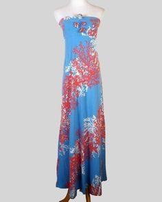 NWOT Lilly Pulitzer Tube Top Maxi Dress Blue Coral Pattern boho hippie long S #LillyPulitzer