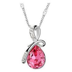 10 Colors Austrian Crystal Silver Plated Necklaces - Alinja