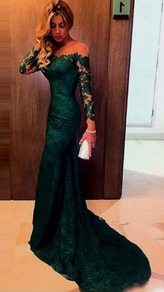 Long Prom Dresses for Girls,Cheap Prom Dress on Line, Prom Gowns for Women,Best Evening Dresses,Party Dresses for Teens, Elegant Dark Green Off-shoulder Lace Mermaid Prom Dress with Long Sleeves, SVD326