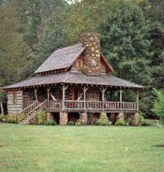 Cabin, trees, no people, grass. Sell the house & buy a small cabin in the mountains & away from all the peoples (: wrap around porch Log Cabin Living, Log Cabin Homes, Log Cabins, Mountain Cabins, Barn Homes, Cabin Design, House Design, Log Cabin Plans, Cabin Kits