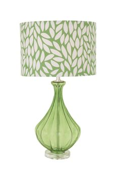 "Modern Leaf Print 27"" Green White Glass Table Lamp Retro Contemporary Petal"