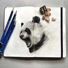Roaring panda  #Moleskine ☘  @art_ofthe_endangered