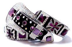 Cowgirl Bling Ranch, LLC - Purple Maltese Cross Concho Cowgirl Bling Belt Black, $63.99 (http://www.cowgirlblingranch.com/purple-maltese-cross-concho-cowgirl-bling-belt-black/)