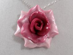 Ombre Pink Rose Pendant  Simple Rose Necklace  by BlueTurtleCrafts, $10.00
