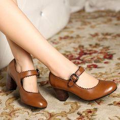 Black Brown Vintage Mori Girl Sapatos Femininos Ladies Chunky High Heel  Mary Jane Pumps Women Genuine a773746cbbc