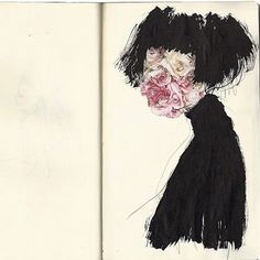 """Eri Wakiyama, aka Eri The Mermaid, aka Mermaid Hair (Japanese-born, lives and works in NYC), """"Shoe-Domir Doma"""" (2010), drawing on moleskin #eriwakiyama #erithemermaid #mermaidhair #drawing #contemporaryart #japaneseartists #NYartists #favouriteart #curatorslife"""