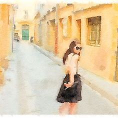 Black dress, painted in @waterlogue