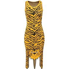 Tiger-print Jacquard dress ❤ liked on Polyvore featuring dresses