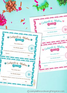 Free Puppy Adoption Certificate and Adopt a Puppy Printable Sign - A Simple Life and Everything Nice Free Pet Adoption, Adoption Party, Free Printable Certificates, Certificate Templates, Puppy Birthday Parties, Birthday Ideas, 8th Birthday, Free Puppies, Puppies Puppies