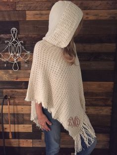Super cozy and snuggly cream poncho with hoodie...EmbroiderybyAndra @ Etsy.com