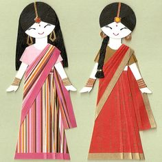 nayadiction: faineemae: indian girls in sari paper dolls By kirakirahoshi This could be BabySis and me. Omg, Big Sis, making these tonight with origami paper.