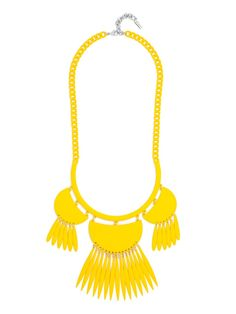 Coated in matte neon, this traffic-stopping fluorescent statement features a fringed silhouette with breezy movement. #baublebar #swatstyle #statement #necklace