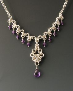 Arrow Drop Chainmaille Necklace with Amethyst by WolfstoneJewelry