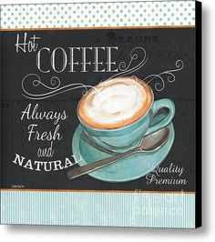Retro Coffee 1 Canvas Print by Debbie DeWitt. All canvas prints are professionally printed, assembled, and shipped within 3 - 4 business days and delivered ready-to-hang on your wall. Choose from multiple print sizes, border colors, and canvas materials. I Love Coffee, Hot Coffee, Coffee Drinks, Coffee Cups, Coffee Break, Funny Coffee, Espresso Coffee, Starbucks Coffee, Black Coffee