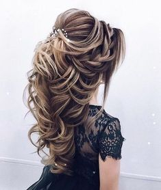 Dutch crown braids and swept back hairstyle #weddinghair #hairdo #braidstyles