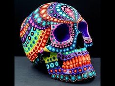 Painted Skulls, Faces and Dunnys by Artist, MP Gautheron , Sugar Skull Artwork, Sugar Skull Painting, Sugar Skull Decor, Dot Painting, Sugar Skulls, Sugar Skull Crafts, Mexican Skulls, Mexican Folk Art, Halloween Skull