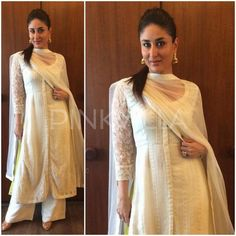 Kareena Kapoor Khan in Anita Dongre White Salwar Kameez Indian Attire, Indian Ethnic Wear, Indian Outfits, India Fashion, Ethnic Fashion, Pakistani Dresses, Indian Dresses, Desi Wear, Kareena Kapoor Khan