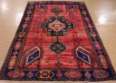 5 x 9 PERSIAN KELARDASHT Nomadic Tribal Hand Knotted Wool  RED NAVY Oriental Rug #PersianKelardashtTribalNomadicGeometric