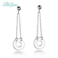 l&zuan trendy concise style round sterling silver jewelry drop earrings for women 925 silver earrings