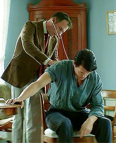 """Sam Heughan in Norwegian film """"Heart of Lightness"""". - """"Hva vet du om den unge mannen?"""" Translation: """"What do you know about the young man?"""" <-- BTW, seeing a bit of Jamie Fraser in this gif!"""