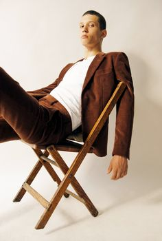 A Marc Jacobs corduroy suit and a Sunspel cotton T-shirt. (Photo: Clement Pascal for The New York Times)