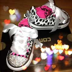 Black and white leopard converse sneakers - Kiddiekart