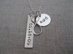 Personalized Infinity Necklace // Hand Stamped with Couples' Initials and Wedding Date // Wedding Gift for Bride