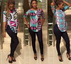 African print blouse, Ladies Blouse, Ankara tops, African fabric, african clothe - www. African Dresses For Women, African Print Dresses, African Attire, African Fashion Dresses, African Wear, African Women, African Prints, Ghanaian Fashion, African Clothes