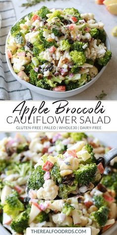 Add more veggies to your plate with this Apple Broccoli Cauliflower Salad that's tossed in a creamy, lemony garlic dressing.Add more veggies to your plate with this Apple Broccoli Cauliflower Salad that's tossed in a creamy, lemony garlic dressing. Paleo Side Dishes, Gluten Free Sides Dishes, Side Dish Recipes, Food Dishes, Side Salad Recipes, Salad Dishes, Salad Recipes For Dinner, Healthy Salad Recipes, Real Food Recipes