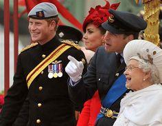 Prince Harry, Duchess Catherine, Duke William & Queen Elizabeth at the Queens Diamond Jubilee