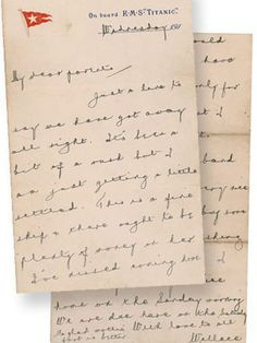This photo provided by RR Auction of Amherst, N.H., shows a letter written by Wallace Hartley, the Titanic's heroic bandleader, who with his band played as the Titanic sunk. (RR Auction)