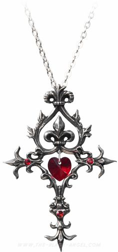 Alchemy Gothic necklace pendant with lavish flourishing and Swarovski crystal heart.