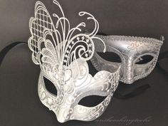 Men Women Couple Silver Metal and Glitter Venetian Masquerade Ball Party Mask in Masks & Eye Masks | eBay