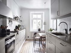 Inviting home with a blue bedroom Home, Home Kitchens, Kitchen Design, Galley Kitchen Remodel, Blue Bedroom, Cosy Interior, Kitchen Interior, My Scandinavian Home, Inviting Home