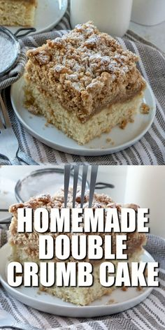 THE BEST HOMEMADE DOUBLE CRUMB CAKE One of the most popular recipes on The Country Cook! This Homemade Double Crumb Cake has double the crumb topping for double the flavor! A New Jersey homemade bakery favorite for generations! Easy Cake Recipes, Sweet Recipes, Baking Recipes, Dessert Recipes, Cinnamon Cake Recipes, Cinnamon Crumb Cake, Apple Crumble Cake, Streusel Cake, Cinnamon Coffee