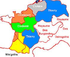 clotaire 1°-2) BIOGRAPHIE. 2.2: PARTAGE DU ROYAUME DES FRANCS (511), 3: Le royaume de Clotaire se compose de 2 parties, la Gaule Belgique, correspondant au royaume des Francs Saliens, où il établit sa capitale à SOISSONS et qui comprend les diocèses d'AMIENS, d'ARRAS, de ST QUENTIN, et de TOURNAI, l'autre en Gaule Aquitaine comprenant les diocèses d'AGEN, BAZAS et PERIGUEUX