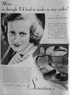 Vintage 1931 Seventeen Perfume Make-Up Ad Film Star Joan Crawford Pin-Up by Lorisvintageads on Etsy