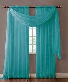 Warm Home Designs Pair of Turquoise Blue Voile Sheer Curtains or Valance Scarf