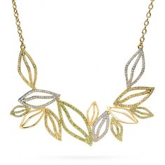Coach Pave Leaf Short Necklace in Multicolor (gold/multicolor) | Lyst