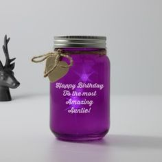 Personalised Purple Glass Jar With Led Lights - Message