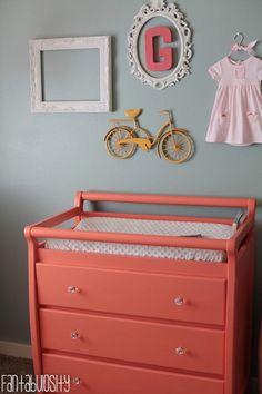 Baby Girl Nursery Gray and Coral Design Wall Decor and Changing Table http://fantabulosity.com