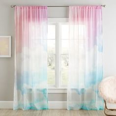 For the daydreamer, our Rainbow Sky Sheer Curtain Panel brings a whimsical feel to the room. This sheer allows just the right amount of light to elegantly filter through. Complete the look with our Rainbow Sky Duvet. Teen Curtains, Rainbow Curtains, Girls Room Curtains, Bedroom Curtains, Cute Curtains, Patterned Curtains, Sheer Curtain Panels, Panel Curtains, Valance