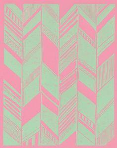 Pohoa Pint/Mint Print by Tanya - Brown / SchatziBrown   handprinted linocut in mint green ink on 65 lb acid free pink card stock http://www.etsy.com/shop/SchatziBrown