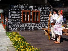 Čičmany, Slovakia - traditional painted house in my country Wooden Cottage, Painted Cottage, Nlp Techniques, Central Europe, Traditional House, Body Art Tattoos, Hand Painted, Culture, Country