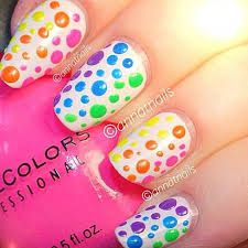 Rainbow polkadot nailss