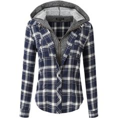 Doublju Hoodie Flannel Plaid Button Down Shirt With Pockets (Plus size... ($16) ❤ liked on Polyvore featuring tops, plaid top, flannel button-down shirts, pocket shirts, women's plus size tops and plus size plaid shirt