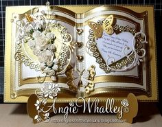One of my fave Aunty's (on my Dad's side) is about to celebrate her Golden Wedding Anniversary this month & she is having a do so we can al. 50th Anniversary Cards, Golden Wedding Anniversary, Anniversary Ideas, Homemade Wedding Gifts, Homemade Anniversary Gifts, Wedding Name Cards, Embossed Cards, Birthday Cards, Crafts